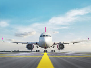 Fototapeta White airplane standing on airport runway ready to takeoff on blue sky background. 3d render. Front view. obraz