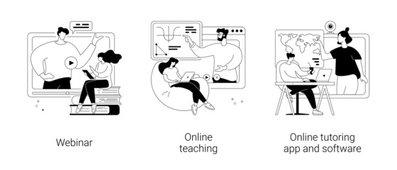 Fototapeta E-learning abstract concept vector illustrations. obraz