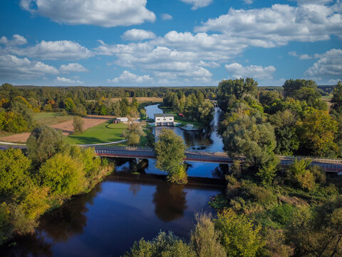 Widawka River on a sunny summer day filmed with a drone.
