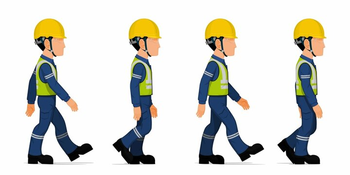 set of industrial worker is walking on white background