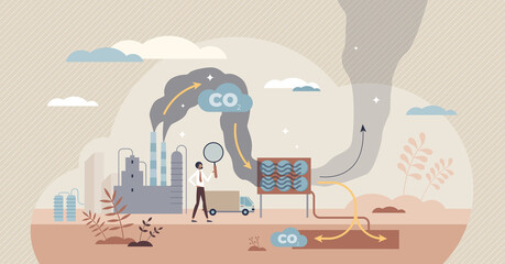 Fototapeta Carbon capture as CO2 reducing with emission utilization tiny person concept. Greenhouse gas pollution control with sequestration process vector illustration. Sustainable solution storage under ground obraz