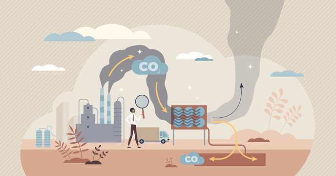 Carbon capture as CO2 reducing with emission utilization tiny person concept. Greenhouse gas pollution control with sequestration process vector illustration. Sustainable solution storage under ground