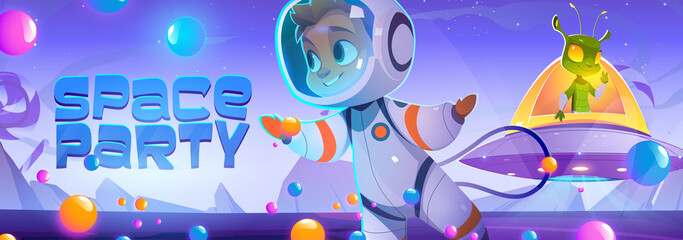 Obraz Space party poster with cute spaceman and alien character in sweet world. Vector banner with cartoon illustration of candy planet landscape, boy astronaut and extraterrestrial in flying saucer - fototapety do salonu