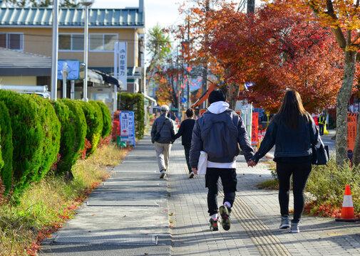 Scene of street at autumn in Karuizawa, Japan