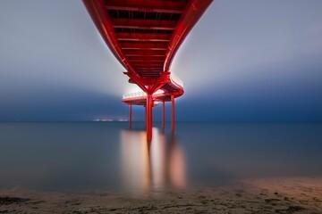 balloon bridge, water, sea,