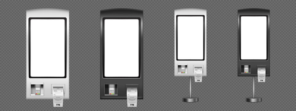 Self order kiosk realistic 3d vector mockup. Vending machines with sensor panel, receipts and pos terminal for payment. Innovative self service counter device, interactive wall or floor stands set
