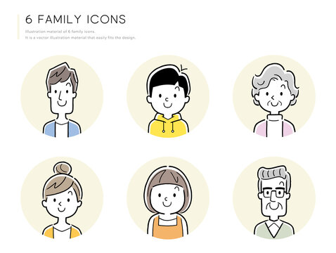 ベクターイラスト素材:家族、人物アイコンセット