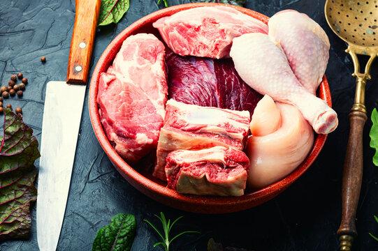 Raw meat set