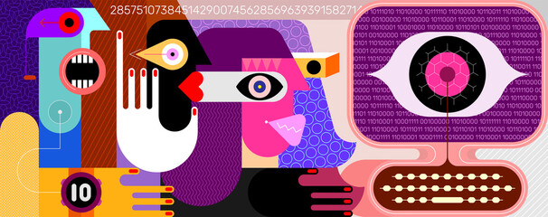 People monitored by social networks. Three people are looking at a computer screen, a large digital eye is watching them from the screen. Modern art vector illustration.