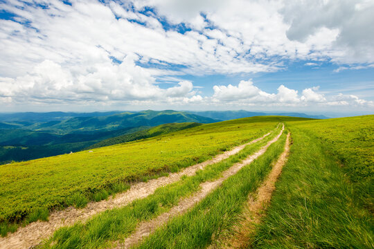 wide trail through grassy meadow. mountain ridge in the distance beneath a gorgeous cloudscape on the blue sky. travel backcountry concept