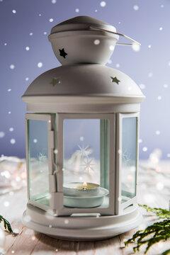 Christmas lantern with snowflakes