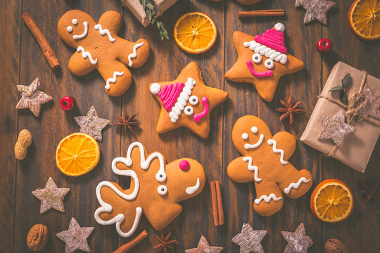 Gingerbread cookies with traditional spices for Christmas time