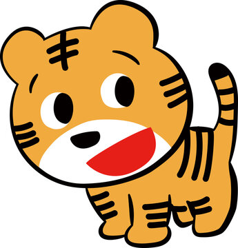 レトロな虎のイラストです。