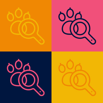 Pop art line Paw search icon isolated on color background. Magnifying glass with animal footprints. Vector