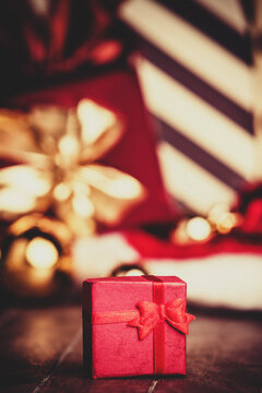 Christmas gifts. Photo in vintage style.