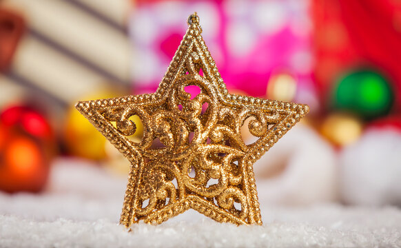 Snowflake and christmas gifts