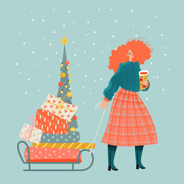 Christmas market illustration with cute red-haired girl with gifts, Christmas tree and mulled wine.