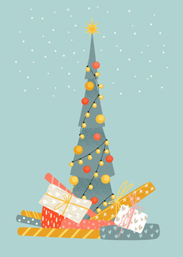 Christmas market illustration with fir tree and gifts. Preparing for the holidays