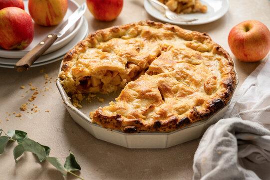 Apple pie, rustic homemade fruit tart with cinnamon, top view.