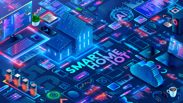 Smart home system with objects automation control through wireless internet 5g. Development and Programming of Intelligence algorithms smart houses. Smart home technology isometric concept.