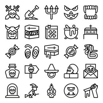 Outline icons for halloween.