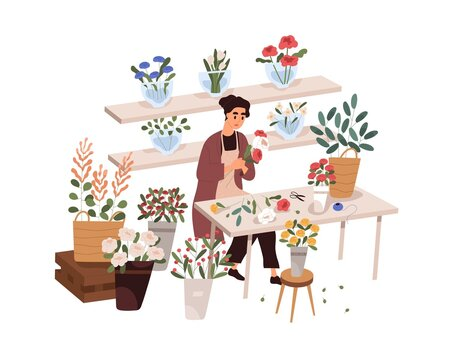 Florist making bouquet in flower shop. Woman at work in retail store with modern plants, sitting at table. Small business, flora trade. Colored flat vector illustration isolated on white background