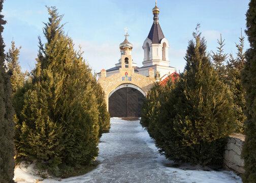 Old Orhei orthodox monastery in winter time