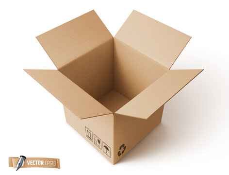 Vector realistic illustration of a brown cardboard box on a white background.