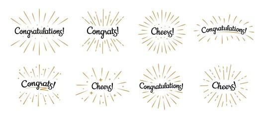 Obraz Congratulations lettering. Congrats label, cheers celebration and congratulation text badges with golden burst vector set - fototapety do salonu