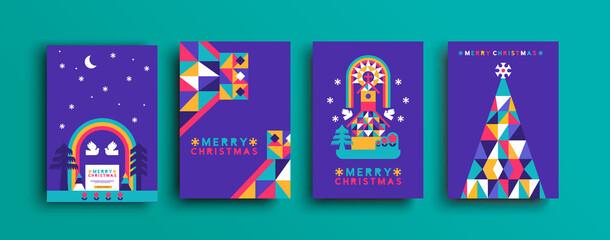 Obraz Merry Christmas colorful folk forest church set - fototapety do salonu