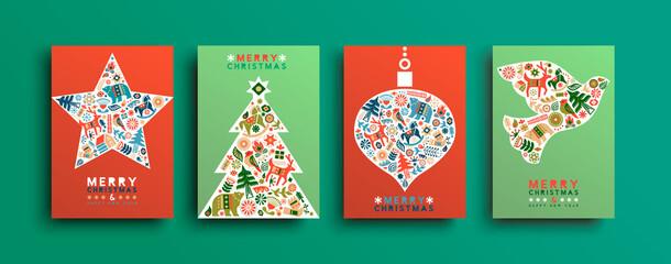 Obraz Christmas New Year folk animal icon card set - fototapety do salonu