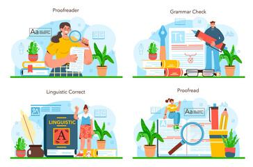 Fototapeta Proofreader set. Printing house technology process, printed publications obraz