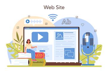 Fototapeta Translator online service or platform. Linguist translating text obraz