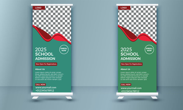 Back to school admission study college education kids promotion banner rollup dl flyer rack card template design