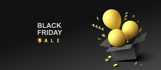Obraz Black friday sale design template. Open black gift box  with yellow flying balloon, yellow swirl long ribbons and confetti. Vector illustration - fototapety do salonu