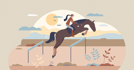 Obraz Equestrian horse back riding female, tiny person vector illustration. Competition sports championship. Active lifestyle scene with fit woman training for victory as success and freedom metaphor. - fototapety do salonu