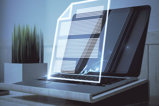 Close up of laptop with abstract digital document hologram. Electronic signature and transformation concept. 3D Rendering.