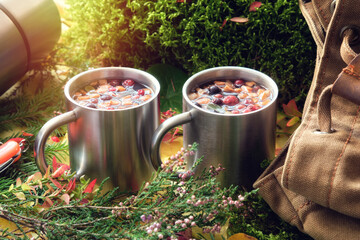 Fototapeta Hiking mugs of healthy fruit tea, canvas backpack of traveller, thermos, fallen autumn leaves, forest moss, sprigs of heather and spruce in autumn forest. obraz
