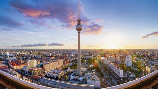 panoramic view at central berlin while sunset, germany