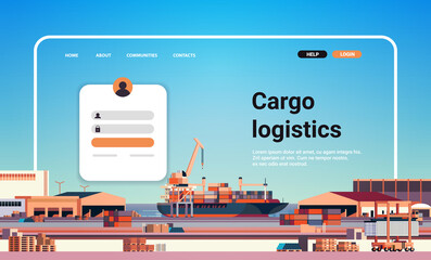 Obraz container ship loading in sea port website landing page template cargo logistics freight transportation concept - fototapety do salonu