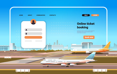 Obraz online airplane ticket booking website landing page template concept horizontal - fototapety do salonu
