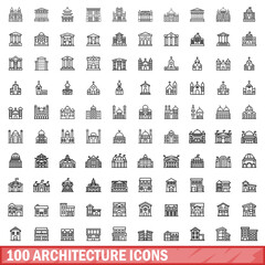 Obraz 100 architecture icons set. Outline illustration of 100 architecture icons vector set isolated on white background - fototapety do salonu