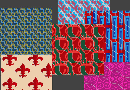 Seamless Pattern Set with Retro Colored Geometric Shapes and 3D Shadow Effect