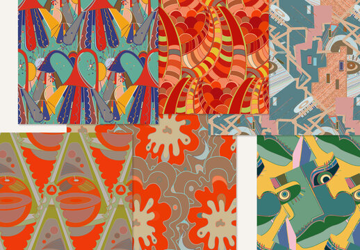 Set of Abstract Seamless Patterns with Cubism Art Elements and Graffiti Wall Style