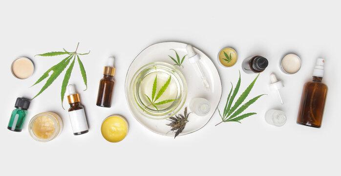 Medical marijuana. Cosmetics and tinctures with CBD oil.