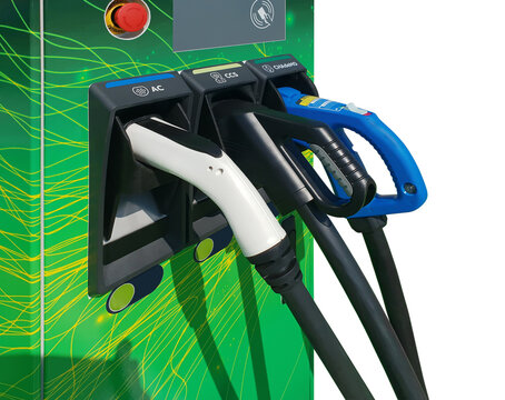 Power supply for electric car charging, Charging station for electric car