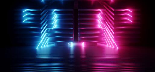 Neon Sci Fi Futuristic Alien Spaceship Modern Vibrant Purple Blue Glowing Laser Beams Metal Glossy Plates Dark Empty Podium Club Party 3D Rendering