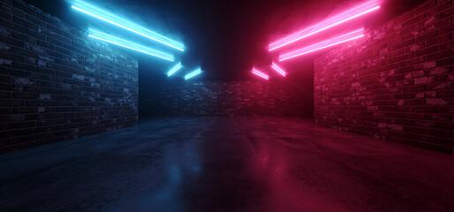 Neon Retro Tunnel Corridor Brick And Concrete Tunnel Hallway Basement Club Laser Beams Fluorescent Purple Blue Lights Night Cyber Virtual Hangar Showroom 3D Rendering