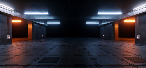 Sci Fi Futuristic Rough Grunge Cement Asphalt Concrete Modern Basement Hangar Parking Tunnel Metal Floor Showroom Hallway Tunnel Corridor Realistic Podium Car Space 3D Rendering