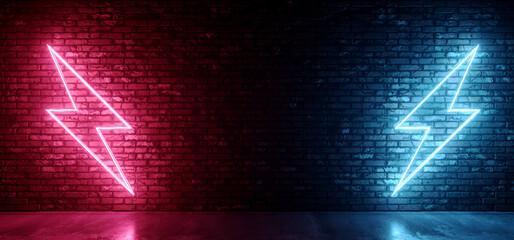 Neon Glowing Thunderbolts Retro Signs Glowing Fluorescent Brick Rough Grunge Wall Concrete Floor Club Hangar Studio Night Dark Vibrant Podium 3D Rendering